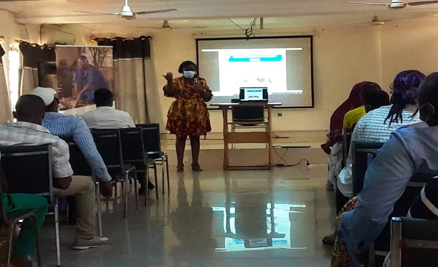 Mrs Mary Koduah of Ghana EXIM bank delivering her presentation to participant at Techiman